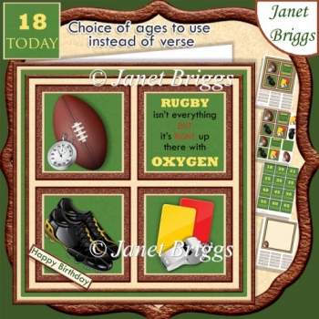 RUGBY 7.5 Quick Card Verse or Ages Decoupage & Insert Kit