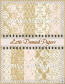 Cottage Chic Latte Damask Background Papers Set of 10