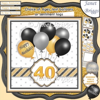 BLACK & GOLD BIRTHDAY BALLOONS & AGES 7.5 Decoupage & Insert