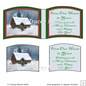 Christmas Cottage Snow Scene Open Book Page