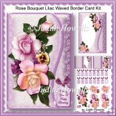 Rose Bouquet Lilac Waved Border Card Kit
