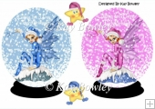 Pink & Blue Christmas faeries in snow globes with stars A5