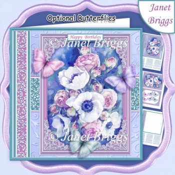 ANEMONE ROSES & BUTTERFLIES All Occasions Quick Card Kit
