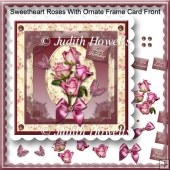 Sweetheart Roses With Ornate Frame Card Front