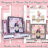 Champagne & Glasses Pop Out Stepper Card