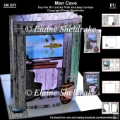 Man Cave 3D Pop Out Concertina Box Card Kit & Envelope