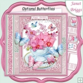 ORCHIDS IN TEACUP 7.5 All Occasions Quick Card & Insert Mini Kit