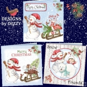 Snowmen Sleigh & Friends Card Set