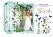 "Vintage Lilies & Butterfly Girl 8"" x 8"" Card Topper & Decoupage"