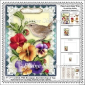 Pansy, Lace & Jenny Wren - 5 x 7 Card Kit With Decoupage, Insert