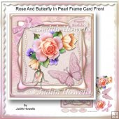 Rose And Butterfly In Pearl Frame Card Front