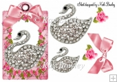 pink roses with bow & diamond swan on a tag