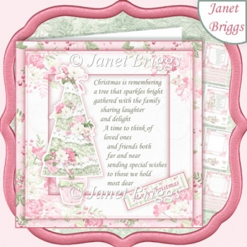 PASTEL CHRISTMAS TREE & VERSE 7.5 Decoupage & Insert Kit