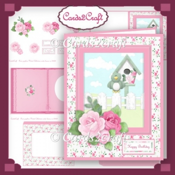Bird house and roses card set