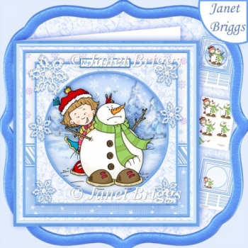 SALLY'S SNOWMAN 8x8 Christmas Decoupage & Insert Kit