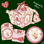 Bear Tea Pot Gift Box with Tea Bag Wrappers