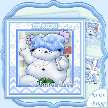 Ipod Snowman 8x8 Christmas Decoupage Mini Kit
