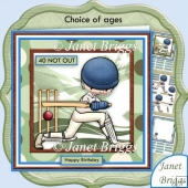 Cricket Not Out 8x8 Mini Kit with Ages Decoupage & Insert Kit