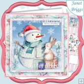 PASTEL SNOWMAN SCENE 7.5 Christmas Decoupage & Insert Mini Kit