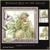 Vintage Lily of the valley Lady in green 930