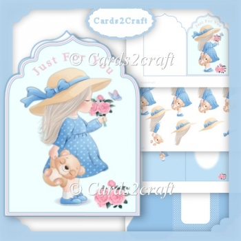 Little girl with roses and Ted card set