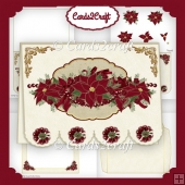 Deep red poinsettia scalloped landscape card set