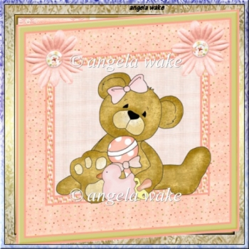 baby teddy bear 7x7 card with decoupage