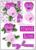 Friendship Flowers (Purple Pansy) Card Topper