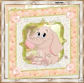 Pink elephant 7x7 card with decoupage and sentiment tags