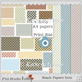 Set of 4 Dotted Beach Papers