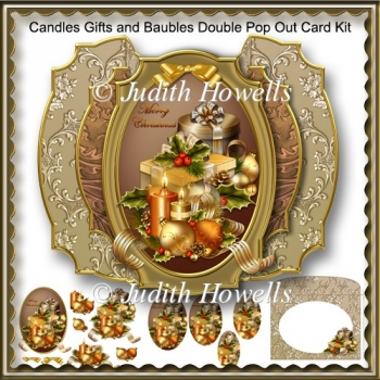 Candles Gifts And Baubles Double Pop Out Card Kit