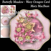 Butterfly Meadow - Wavy Octagon Card