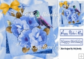 blue shades of roses with humming bird 8x8