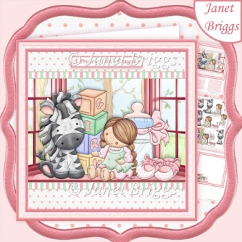 GIRLS STUFF NEW BABY GIRL 8x8 Decoupage & Insert Kit