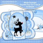 Winter Rudolph Double Pop Out Card & Envelope