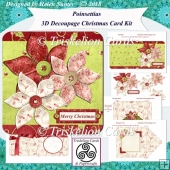 Poinsettias 3D Decoupage Christmas Card