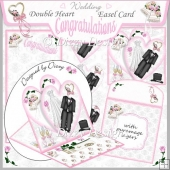 Wedding Congratulations - Double Heart Easel Card