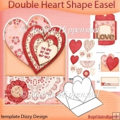 Flowers and Love Double Heart Shape Easel Card