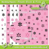 Flower Black & Pink Backing Papers