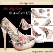 Shoe shape Card vintage rose