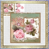 Pink vintage rose 7x7 card with decoupage