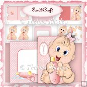 Pink Baby Girl Shaped Card Set