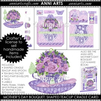 MOTHER'S DAY BOUQUET TEACUP CRADLE CARD