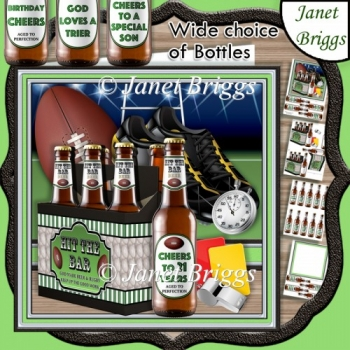 RUGBY BEER 6 PACK HIT THE BAR 7.5 Decoupage & Insert Kit