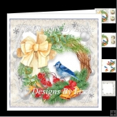 Christmas Bird With Wreath mini Kit