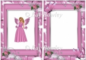 Faerie in pink with butterflies in flower frame A5 Insert