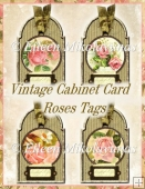 Vintage Cabinet Card Roses Tags
