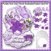 Purple And Lilac Floral Scalloped Easel Card Kit