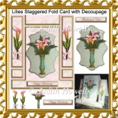 Lilies Staggered Fold Card with Decoupage