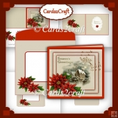 Winter scene with poinsettias card set